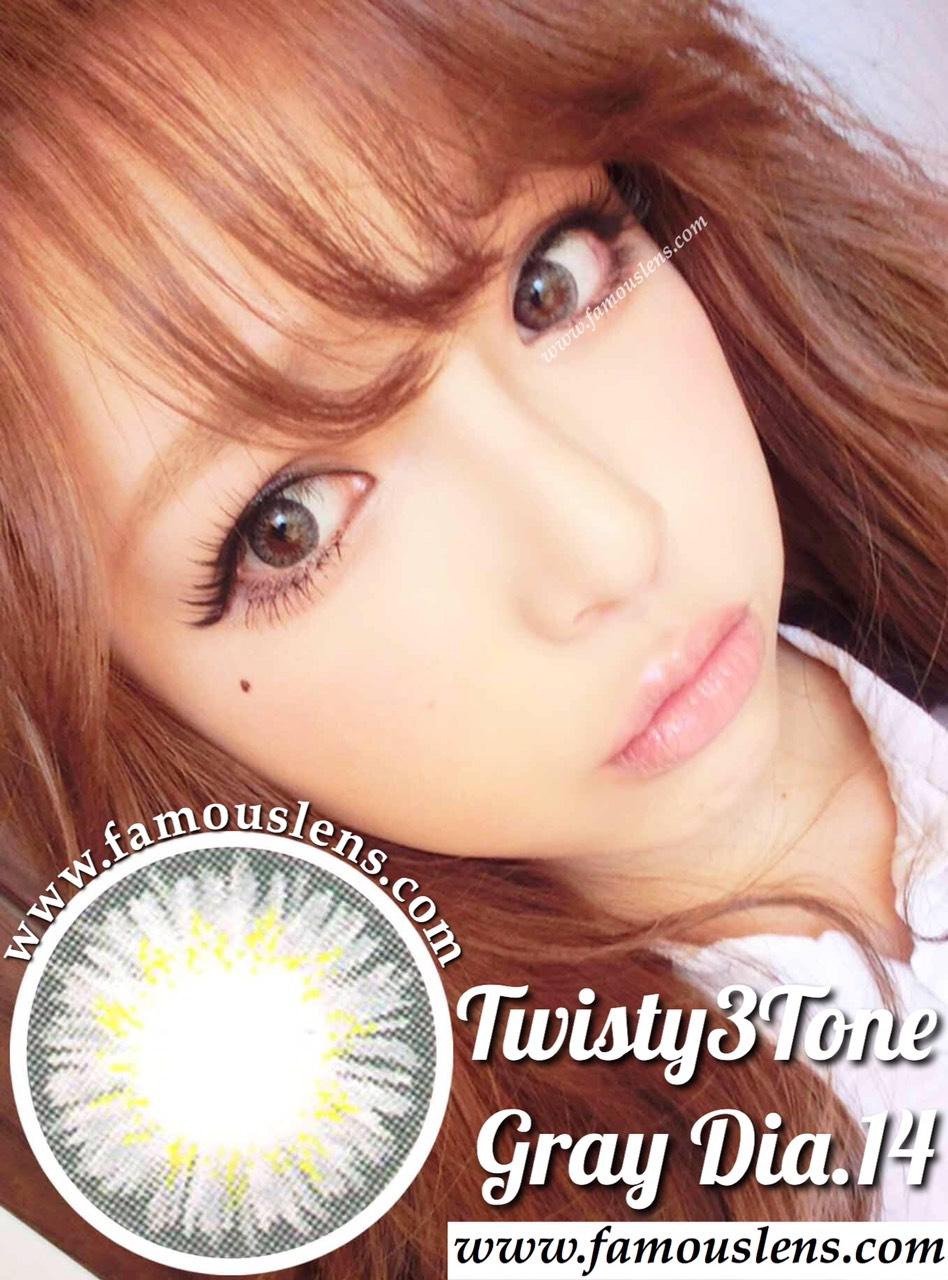 Twisty3Tone Gray Dia.14 คอนแทคเลนส์สีเทาตาฝรั่ง เซ็กซี่