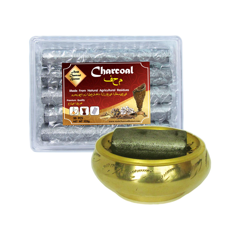 เตาเผาไม้หอม กระถางธูป เครื่องหอมทุกชนิด ทำจากทองเหลืองแท้ + ถ่านพิเศษ ชาโคล สำหรับจุดไฟเผา 1 กล่อง