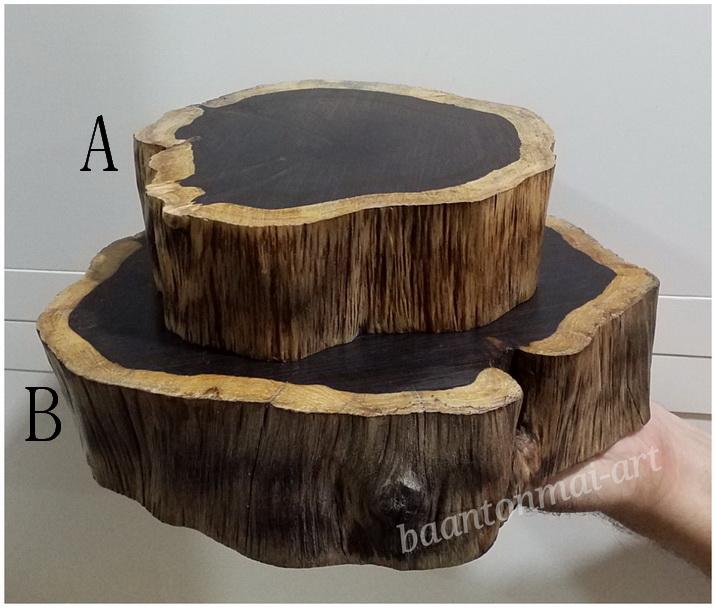 ฐานไม้มะเกลือแอฟริกา(Ebony)หนา 5cm อันละ