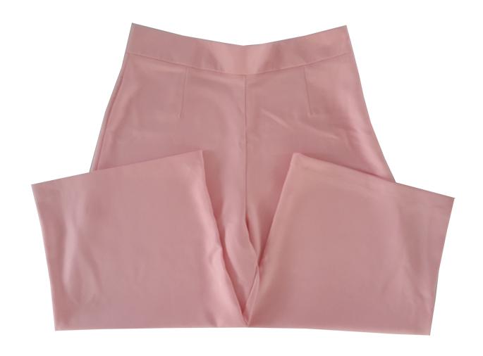 กางเกงห้าส่วนผ้าฮานาโกะ ขาบานเอวสูง สีชมพู Size S M L XL
