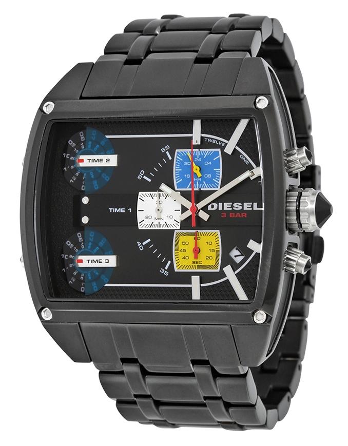 นาฬิกาผู้ชาย Diesel รุ่น DZ7325, Mothership Chronograph Three Time Zone Dial Black Ion-plated