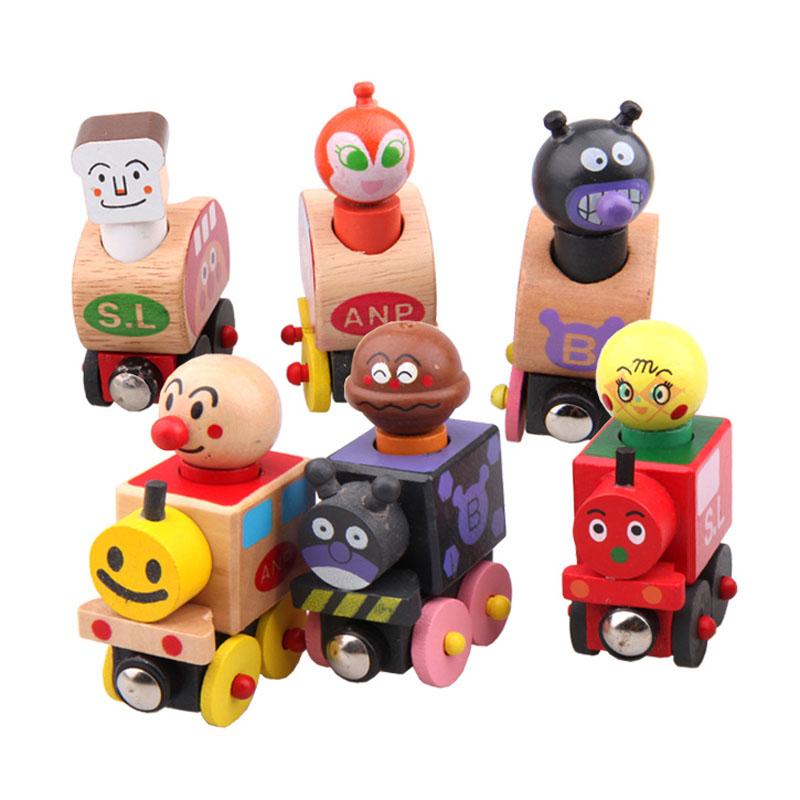 ชุด รถไฟไม้ของเล่น อังปังแมน Wooden Magentic Train