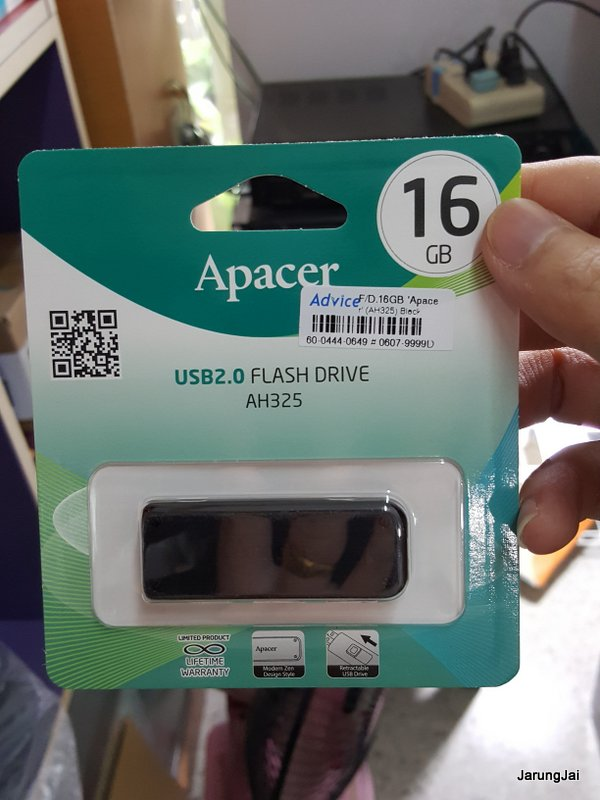 usb flashdrive apacer 16 gb ah325 สีดำ
