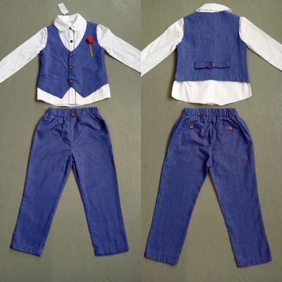 ID322- เสื้อ+กางเกง+เสื้อกั๊ก 5 ชุด /แพค ไซส์ 100-140