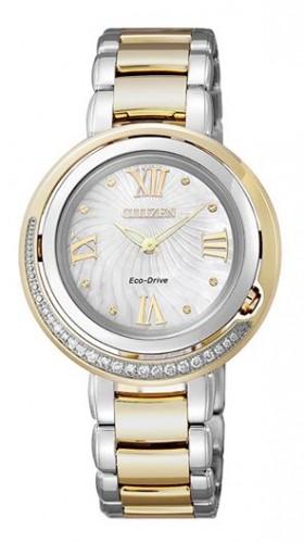 นาฬิกาข้อมือผู้หญิง Citizen Eco-Drive รุ่น EX1124-52D, Genuine Diamonds Sapphire Elegant Japan