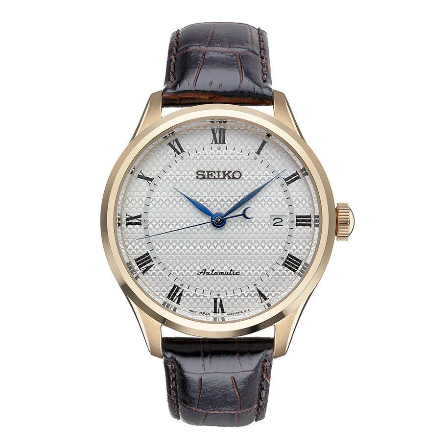 นาฬิกาผู้ชาย Seiko รุ่น SRP772, Automatic Rose Tone Steel Brown Leather Strap