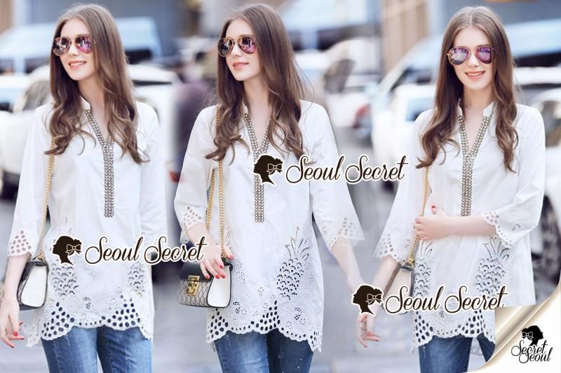 เสื้อผ้าแฟชั่นเกาหลี Seoul Secret Say's .... Ivory Summer Embroider ShirtDress