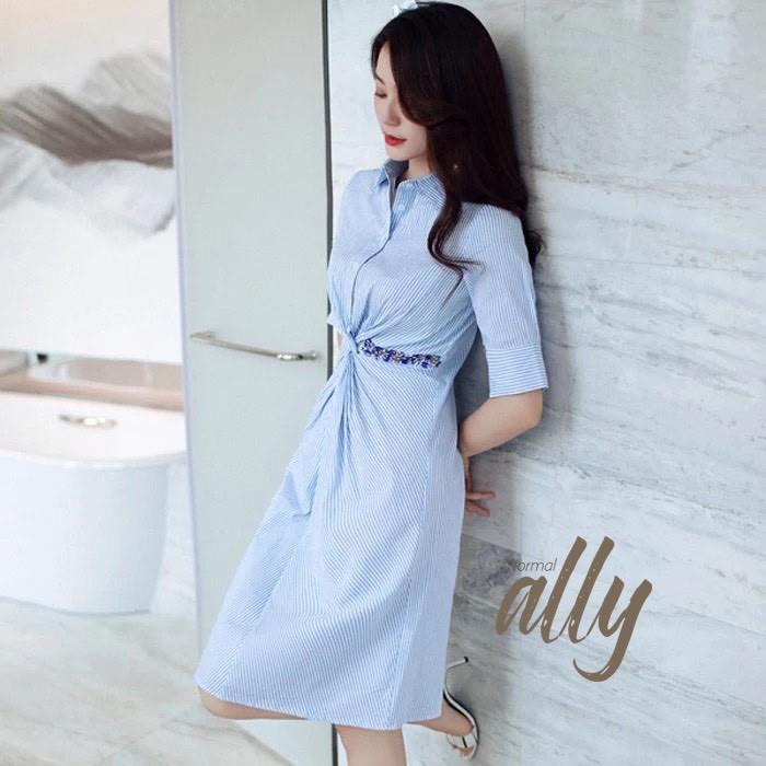 เสื้อผ้าแฟชั่นเกาหลี New Arrival … Don't Miss! Normal Ally Present Striped embroider crystal waist dress