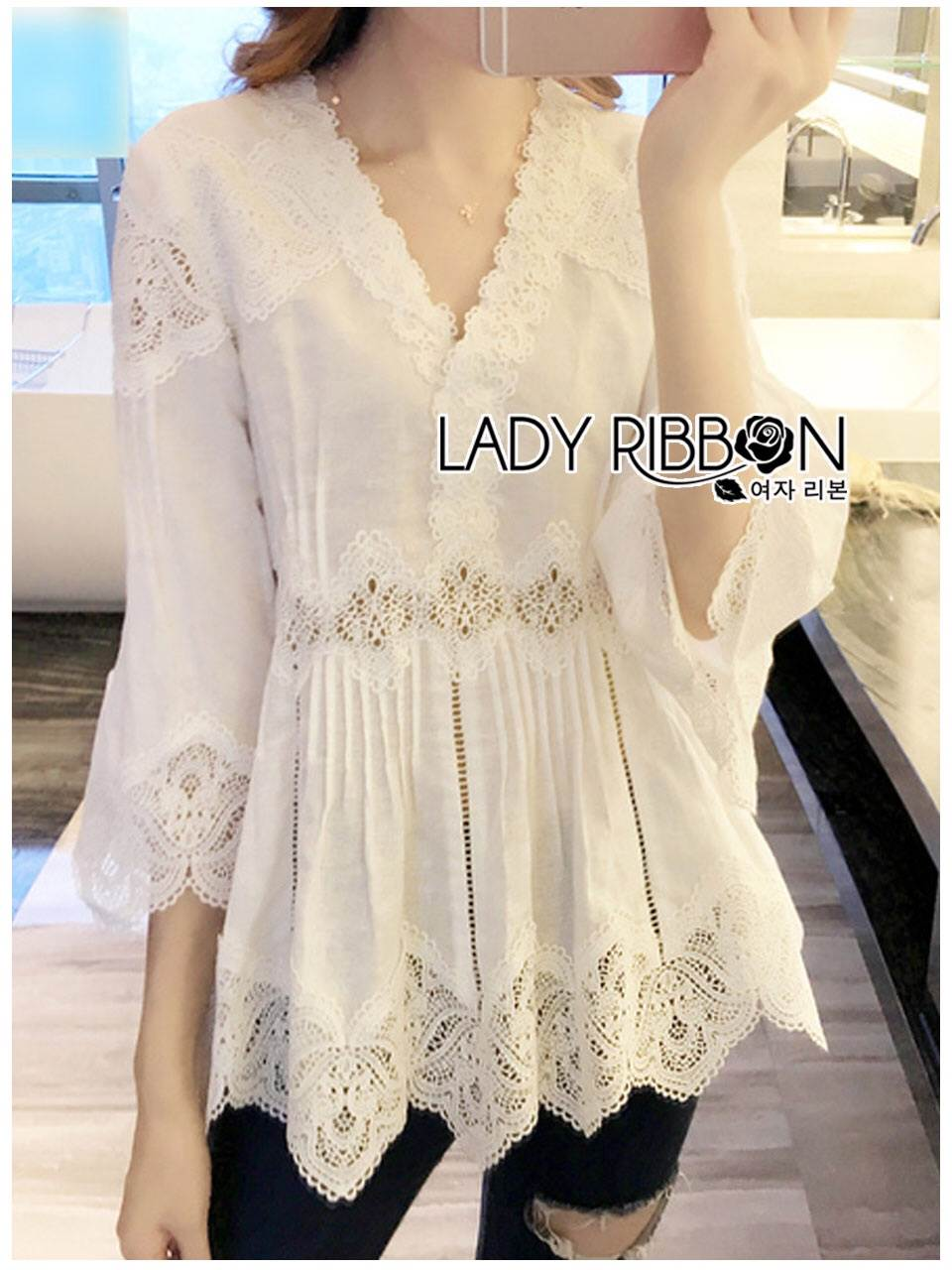 🎀 Lady Ribbon's Made 🎀 Lady Avril Vintage White Cotton and Lace Long Blouse