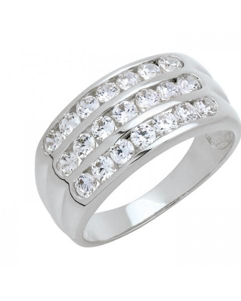 แหวนประดับเพชรฝังสอด 3 แถว ชุบทองคำขาวแท้