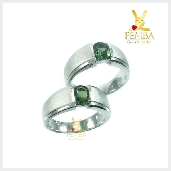 แหวนพลอยคู่รักFeel good พลอยเขียวส่องแท้