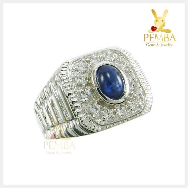 แหวนไพลิน กาญ สีน้ำเงินสวยใส