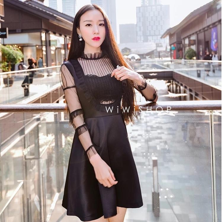 ชุดเดรสสั้นสีดำ แขนยาว สวยๆ สไตล์สาวมั่นใจ