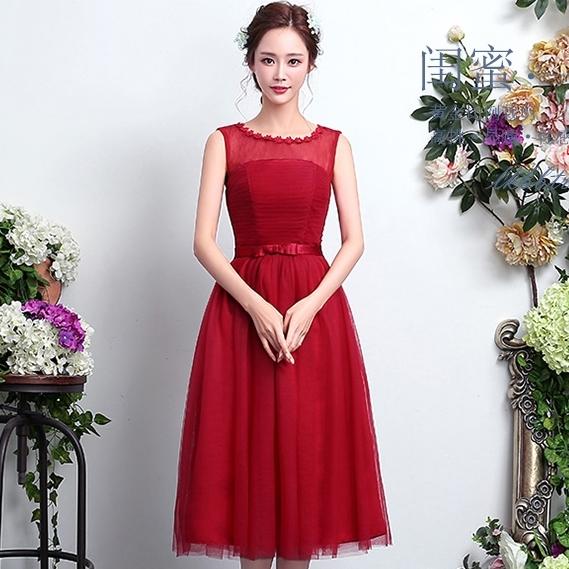 ชุดราตรีสีแดง คอกลม แขนกุด ลุคสวยหวาน เรียบหรู ดูดี ใส่ออกงาน ไปงานแต่งงาน ชุดเพื่อนเจ้าสาว