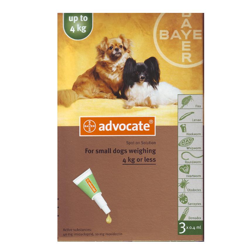 ยาหยด Advercate สุนัข size 0-4 kg