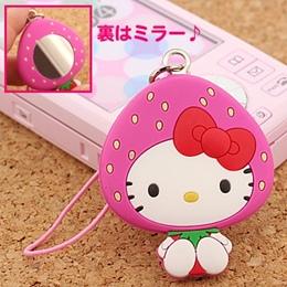 ที่ห้อยมือถือกระจกพกพา Kitty Beauty Up รุ่น Strawberry Kitty ด้านหลังเป็นกระจกขนาดเล็กไว้ตรวจเช็คความสวย ประหยัดเวลาหากระจกในกระเป๋าค่ะ