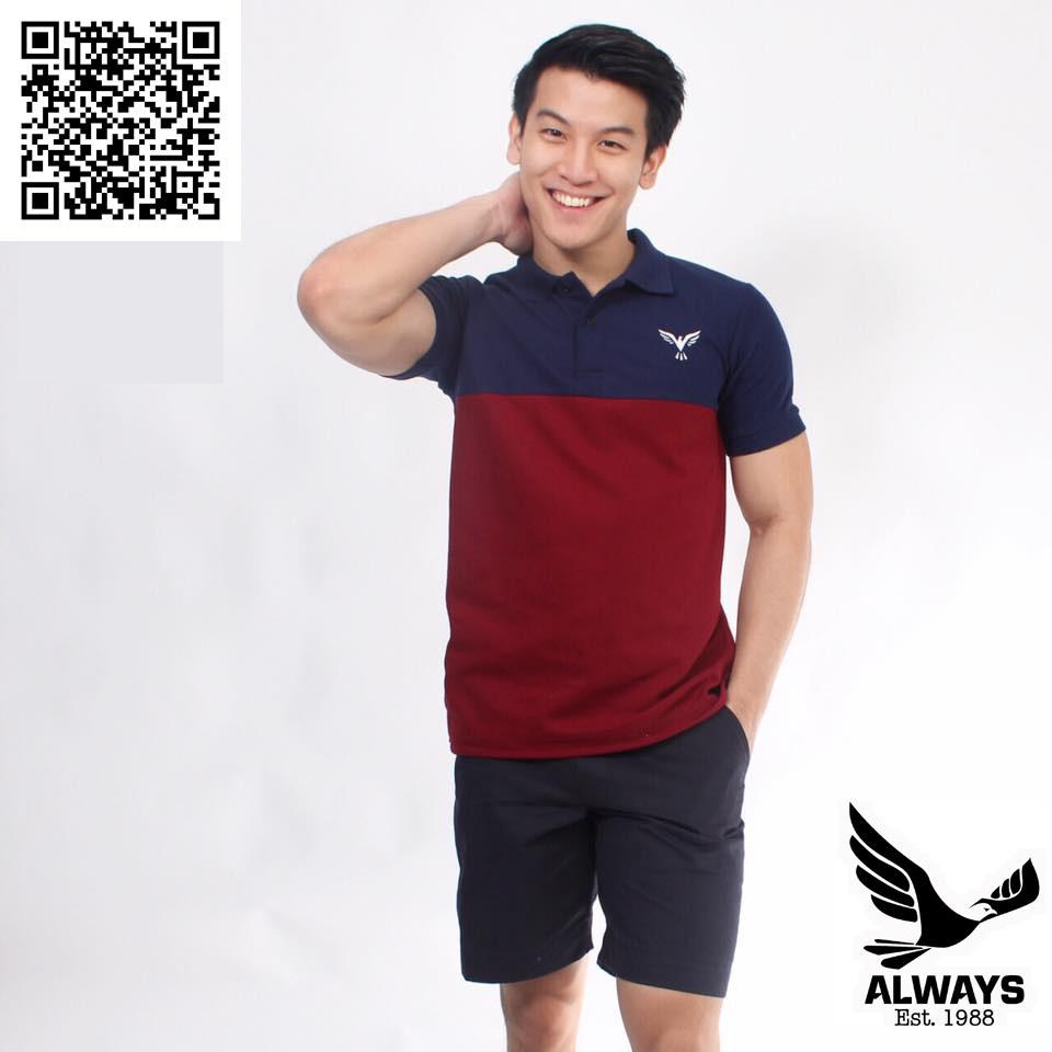 เสื้อโปโล Always - POLO รุ่น Two Tone | Navy Blue-Red