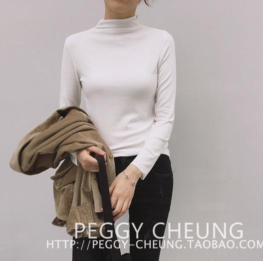 เสื้อแฟชั่น คอปีน แขนยาว ผ้ายืด สีขาว
