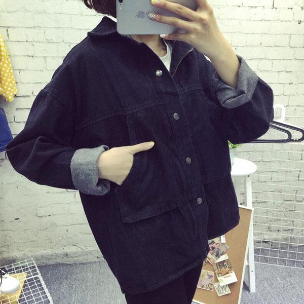 เสื้อยีนส์ผู้หญิง แจ็คเก็ตยีนส์ เสื้อคลุมยีนส์ สีดำ แขนยาว หลวมๆ แฟชั่น Street