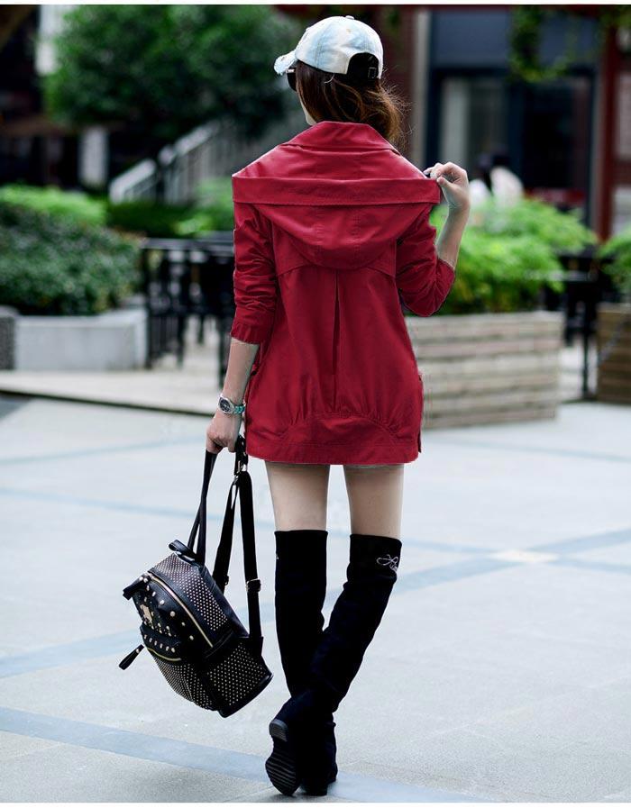 เสื้อกันหนาวผู้หญิงแฟชั่นเกาหลี สีไวน์แดง แจ็คเก็ต มีฮู้ด ตัวยาวคลุมสะโพก เท่ๆ