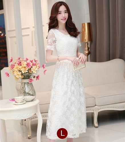 ชุดเดรสออกงานสวยหรูสไตล์เกาหลี สีขาว ผ้าซีทรูปักลายดอกไม้ คอกลม แขนสั้น ซิปข้าง ซับในอย่างดี ไซส์ L