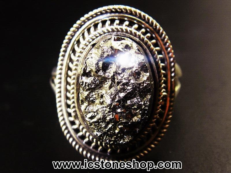 ▽ไพไรต์ (Pyrite)จากเปรู-แหวนเงินแท้ 925 (แหวนเบอร์ : 57 , 7.9g)