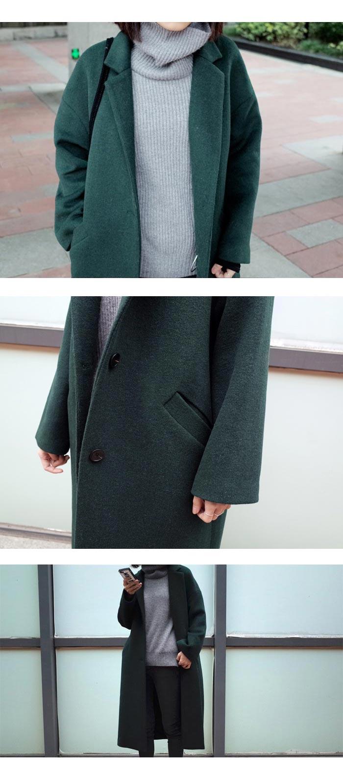 เสื้อโค้ทกันหนาวผู้หญิง สีเขียวเข้ม ยาวคลุมเข่า ผ้าวูลเลิน ใส่เที่ยวรับลมเย็น ต่างประเทศ