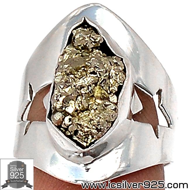 ▽แหวนเงินแท้ 925 - ไพไรต์ (Pyrite)จากเปรู - size 6 (4.8g)
