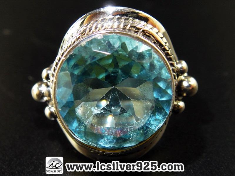 ▽โทพาซสีฟ้า (Blue Topaz) แหวนเงินแท้ 925 (แหวนเบอร์ : 52, 6.5g)