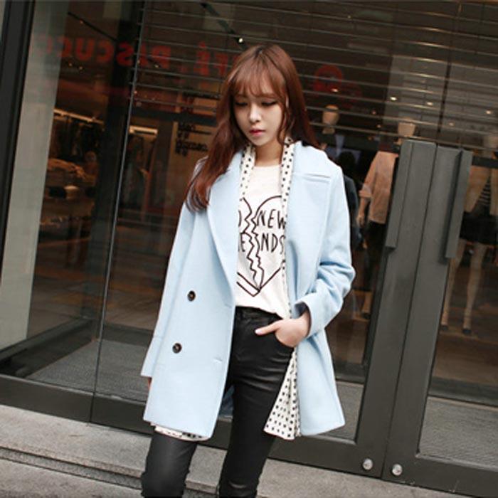 เสื้อโค้ทกันหนาวผู้หญิง สีฟ้า คลุมสะโพก ใส่เที่ยวต่างประเทศสวยๆ