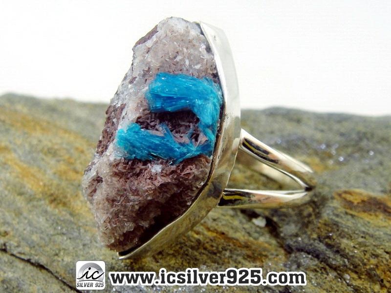 ▽แคแวนไซต์ Cavansite-แหวนเงินแท้ 925 (แหวนเบอร์ : 59) 6.8g