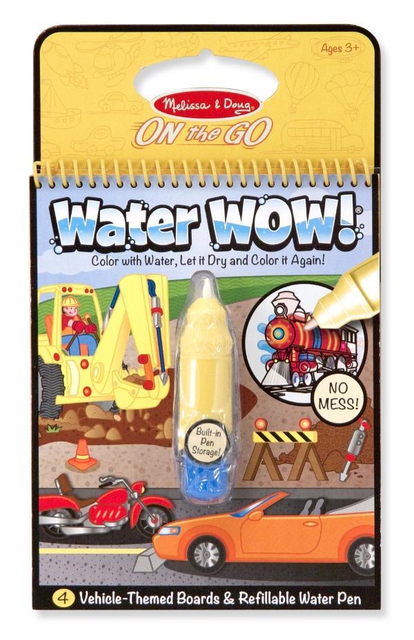 สมุดระบายสีแบบพกพา Melissa and Doug Water Wow Reusable - ยานพาหนะ