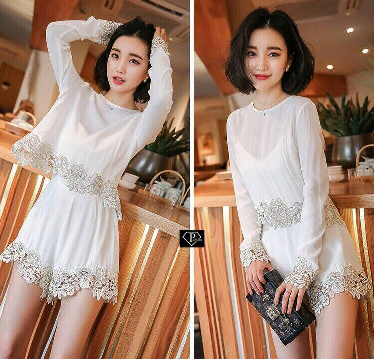 Golden Embroidery Playsuit in white
