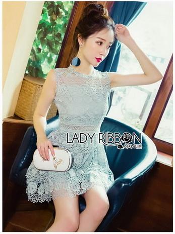 Ruffle Grey Lady Ribbon Lace Dress