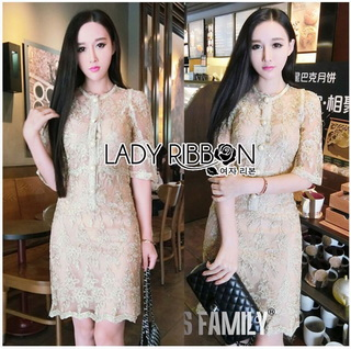 Lady Ribbon Online เสื้อผ้าออนไลน์ขายส่ง Lady Ribbon เสื้อผ้า LR14180816 &#x1F380 Lady Ribbon's Made &#x1F380 Kate Royal Sweet Gold Floral Embroidered Button-Down Tulle Dress เดรสผ้าทูล