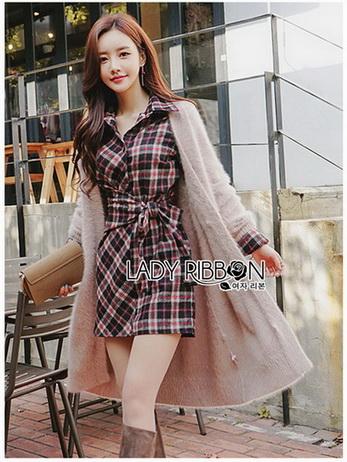 Lady Rachel Ribbon Twist Tartan Wool Shirt Dress