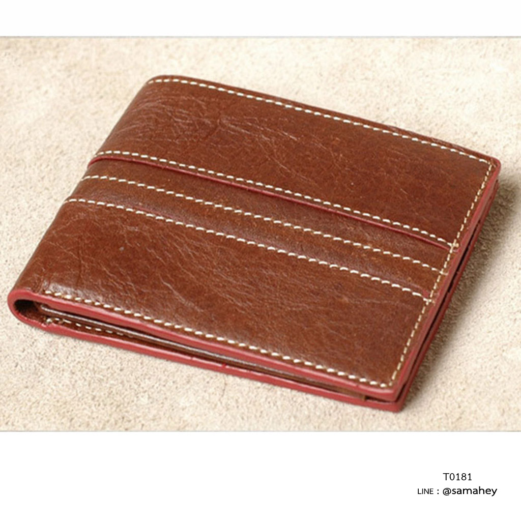 กระเป๋าสตางค์ผู้ชาย หนังแท้ ทรงสั้น T0181 - สีน้ำตาล