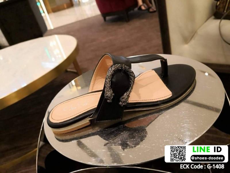 รองเท้าแตะหูหนีบ เท็กซ์เจอร์ลายเสือ G-1408-BLK [สีดำ]