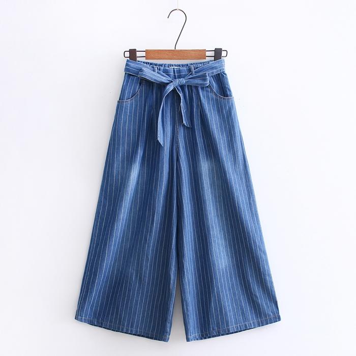 กางเกงยีนส์เอวยืด ขาบาน/คาดโบว์ (มีให้เลือก 2 สี 2 ไซส์)