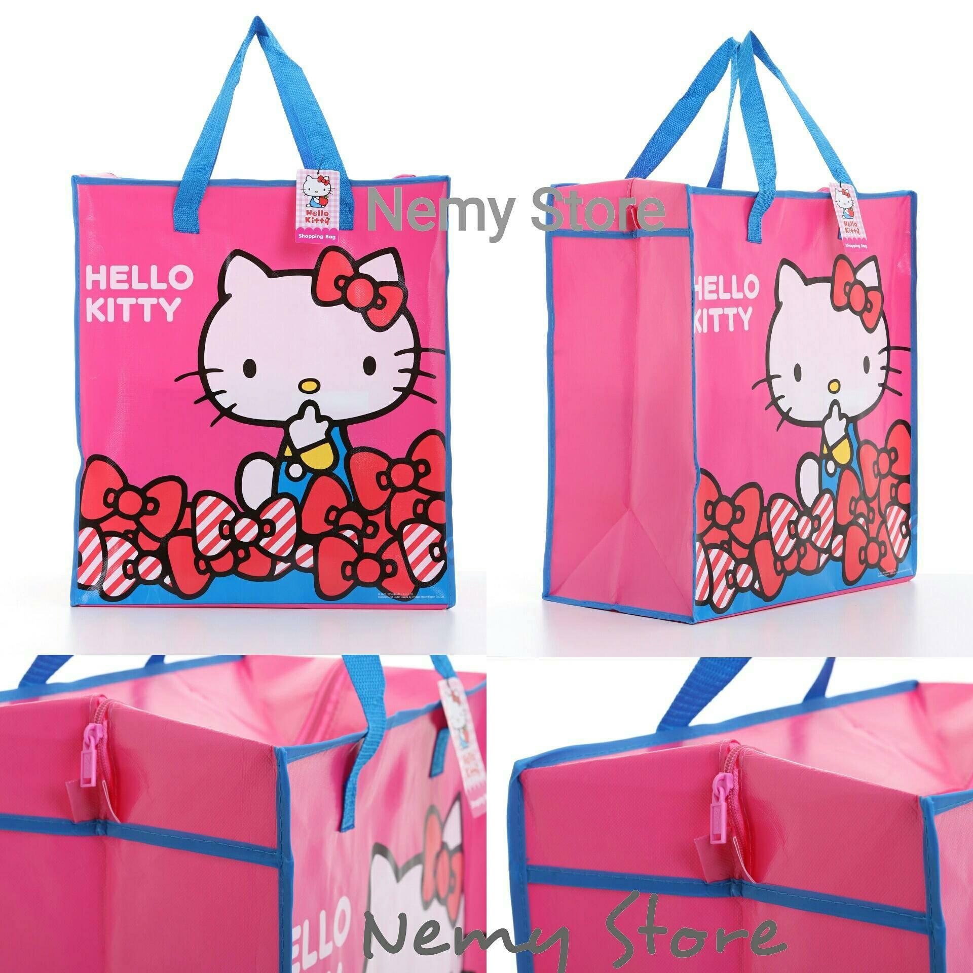 กระเป๋ากระสอบ ลายลิขสิทธิ์ Hello Kitty คิตตี้ มีซิป ไซส์เล็ก ขนาด 50*45*25 cm.ราคาส่ง 80 บาท