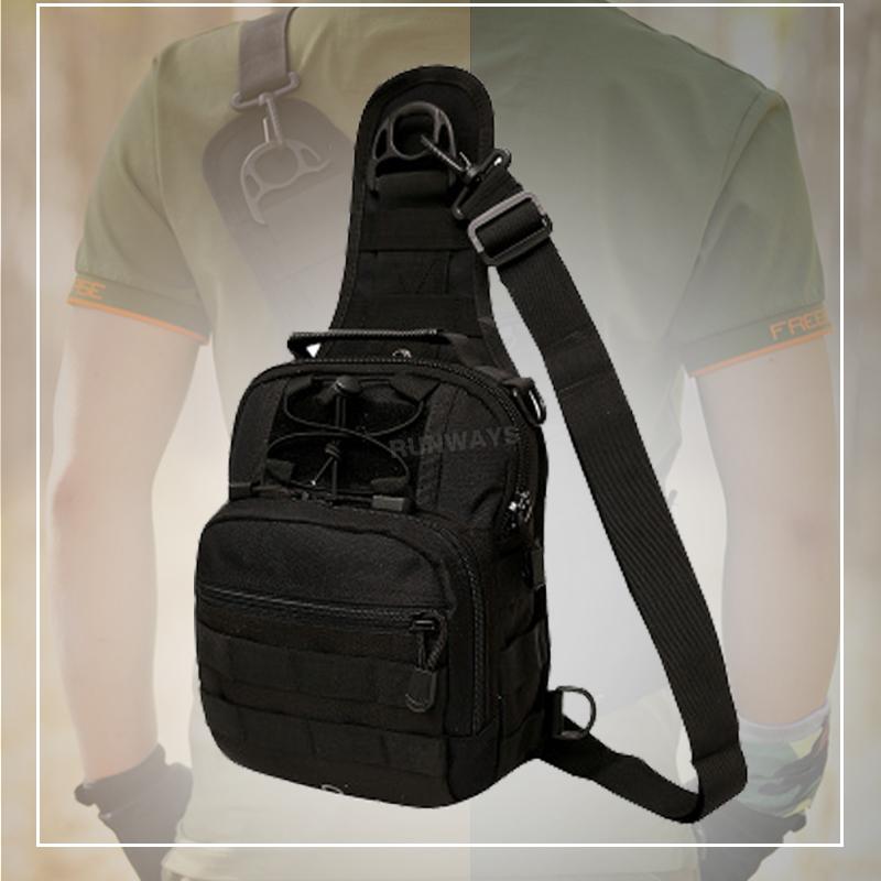 กระเป๋า 4in1 คาดอก สะพายข้าง สะพายหลัง แบบถือสุดคุ้ม : สีดำ