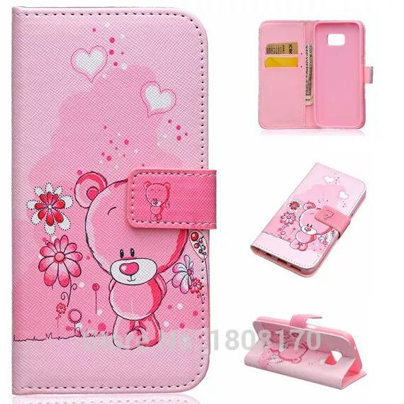 เคสซัมซุง s7 เคสกระเป๋าหนังพับน่ารักสีชมพู