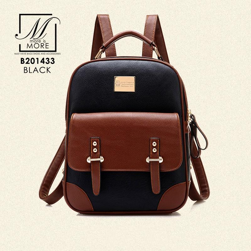 กระเป๋าสะพายเป้กระเป๋าถือ เป้แฟชั่นนำเข้าดีไซน์เก๋ส์ แบรนด์ BEIBAOBAO แท้ B201433-BLK (สีดำ)