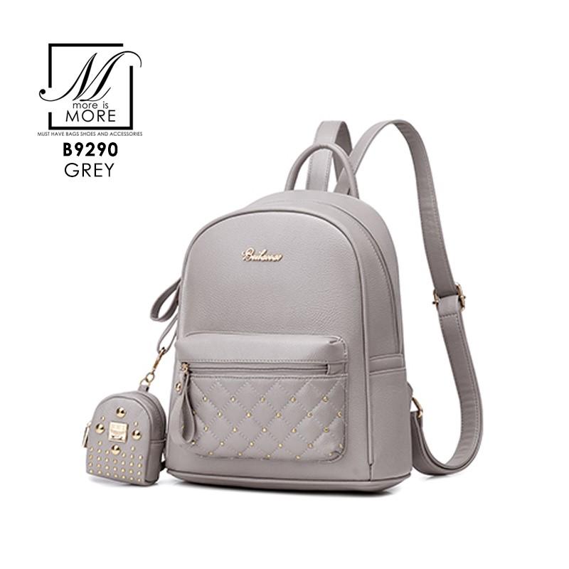 กระเป๋าสะพายเป้กระเป๋าถือ เป้แฟชั่นนำเข้าดีไซน์เรียบหรู B9290-GRY (สีเทา)