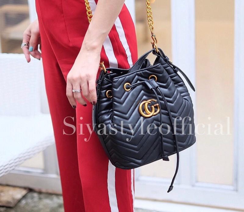 กระเป๋าสะพายแฟชั่น กระเป๋าสะพายข้างผู้หญิง GG ทรงขนมจีบ [สีดำ]