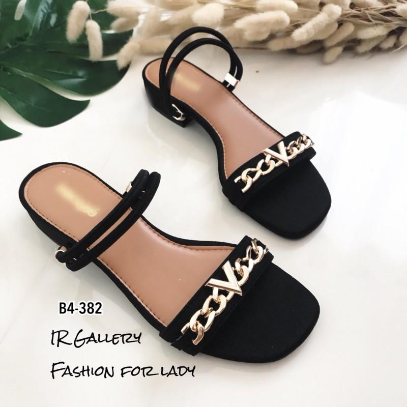 รองเท้าแตะคาดlv B4-382-ดำ (สีดำ)