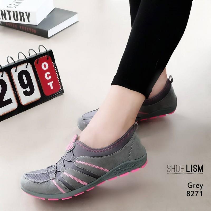 รองเท้าผ้าใบยางยืดสีเทา ผ้ายืดเงา เบาสบาย 8271-เทา