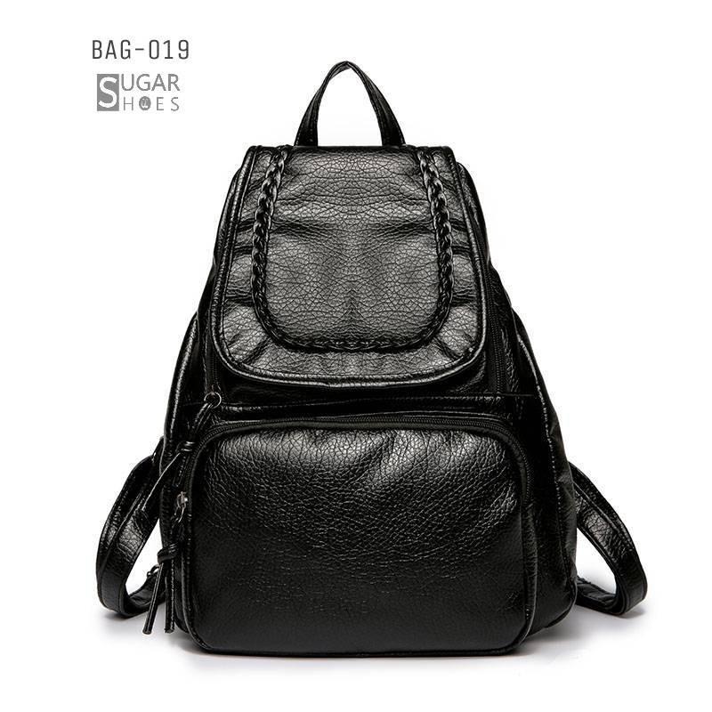 พร้อมส่ง กระเป๋าเป้หนัง pu -BAG-019 [สีดำ]