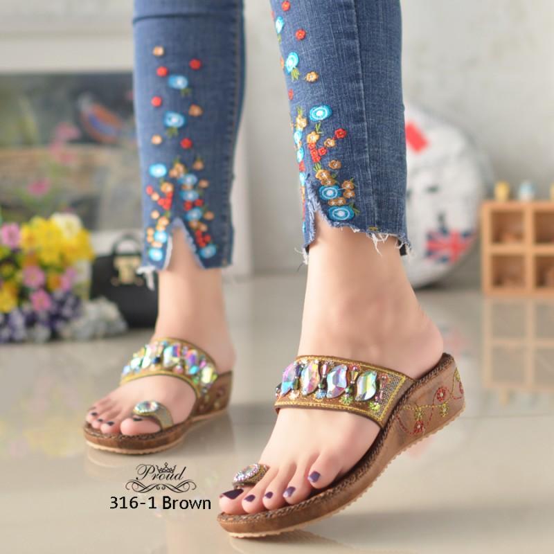 รองเท้าแตะคีบโป้งโบฮีเมียนสีตาล สวยล้ำ 316-1-ตาล