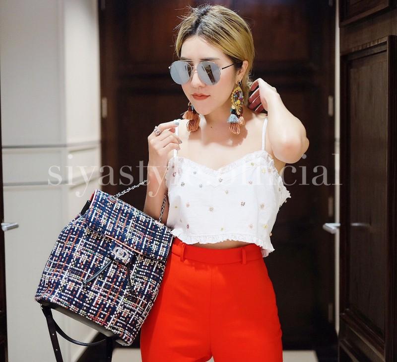 กระเป๋าเป้ผู้หญิง กระเป๋าสะพายหลังแฟชั่น เป้Tweed Bag []
